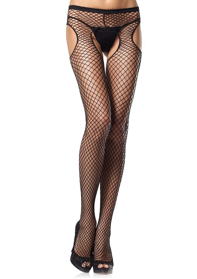Industrial net garterbelt pantyhose in BLACK