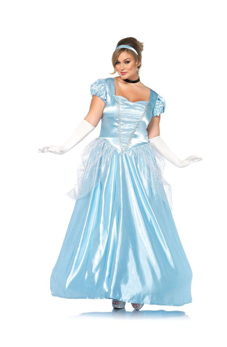 3PC.Classic Cinderella,long satin ball gown,choker,headband in BLUE