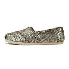 Toms for Women: Classic Silver Glitter Wool Flat