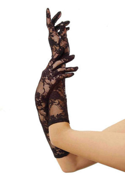 (6Pc.Pack)Stretch Lace Gloves Elbow Length in BLACK