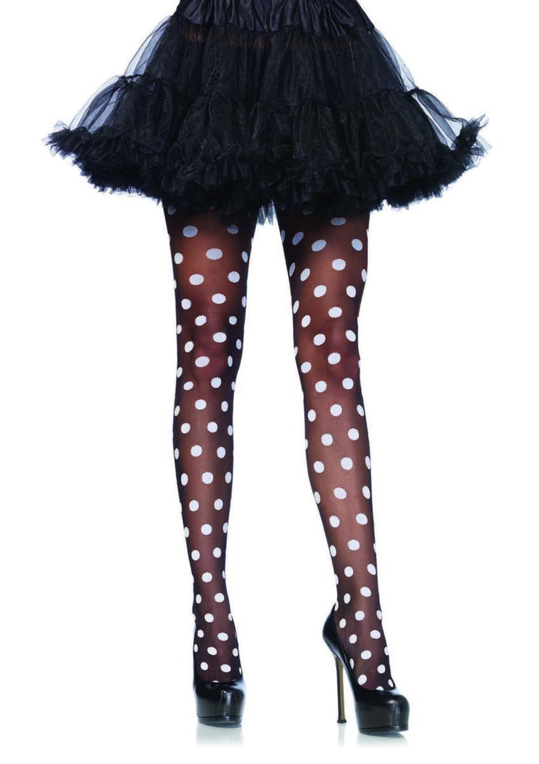 Sheer polka dot pantyhose in BLACK/WHITE