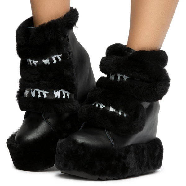 Dizzy Dream Wedge Fur Booties