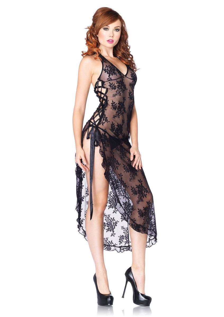 2Pc. Halter Lace Long Gown W/ Ribbon Lace Up Side Slip And G in BLACK