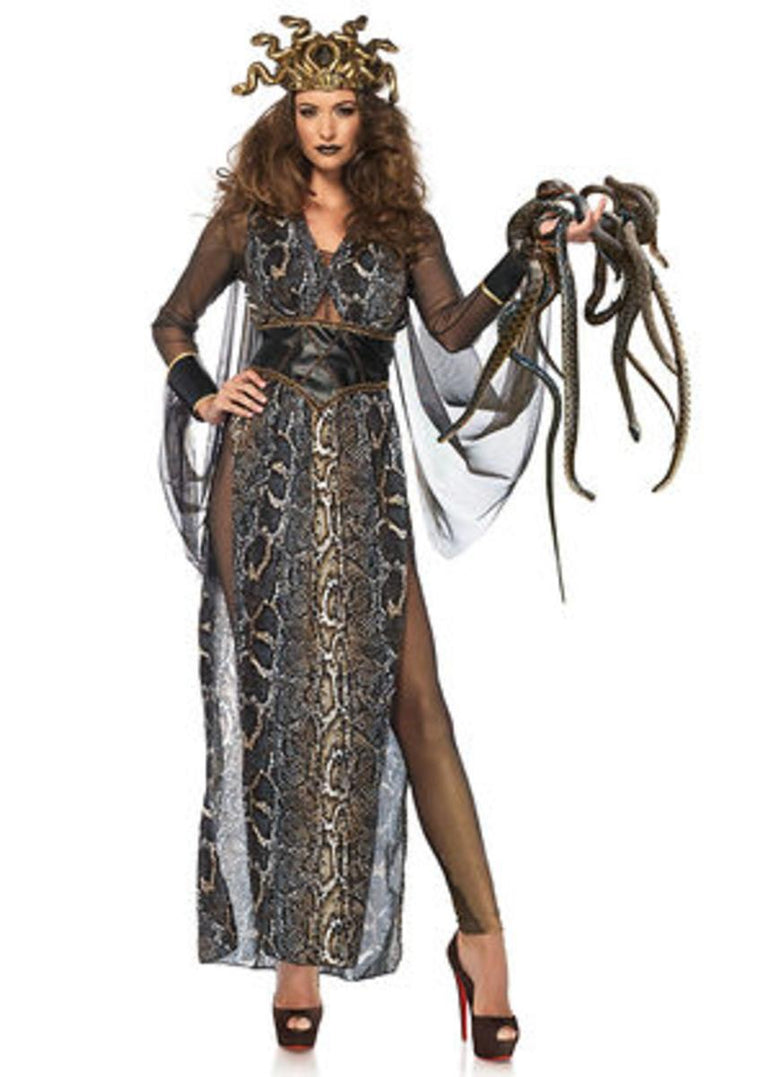 3PC. Medusa,gold shimmer catsuit,snake print dress,head piece in MULTICOLOR