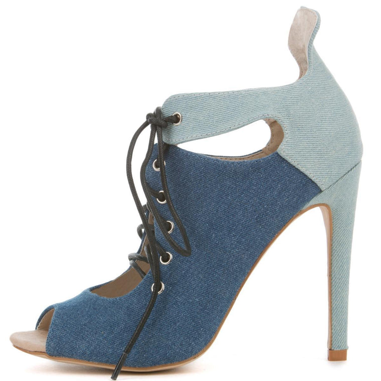 Cape Robbin Blaire-2 Women's Denim Heeled Booties