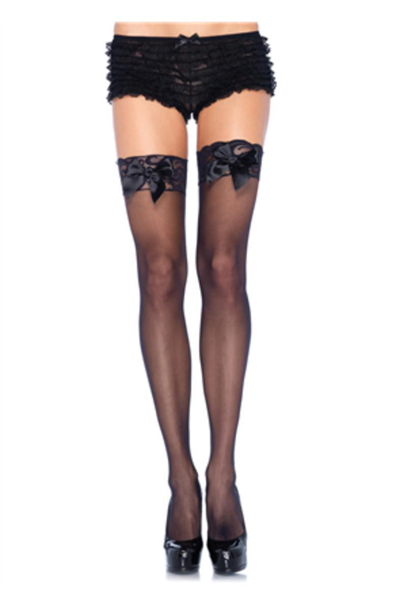 Sheer Thigh Hi Lace Top W/ Satin Bow in BLACK