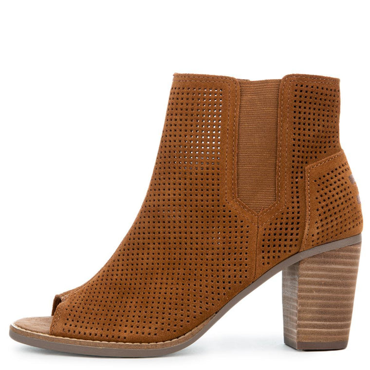 Toms Majorca Peep Toe Cinnamon Suede Perforated Bootie