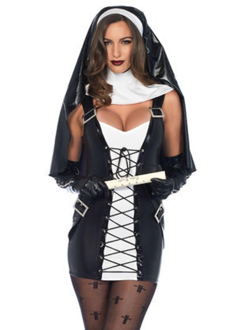 3PC.Naughty Nun,lace up dress,collar neck piece,habit in BLACK/WHITE