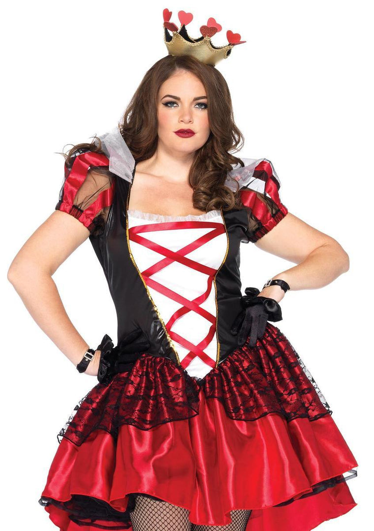 2PC.Plus Size Royal Red Queen, satin dress and crown headpiece in BLACK/RED