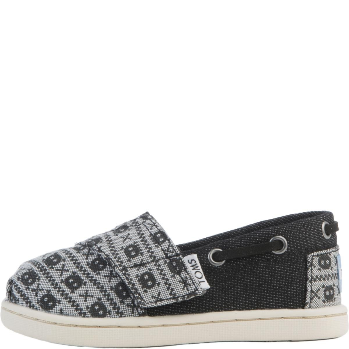 Tiny Toms: Biminis Black Denim Chambray Skulls Flats