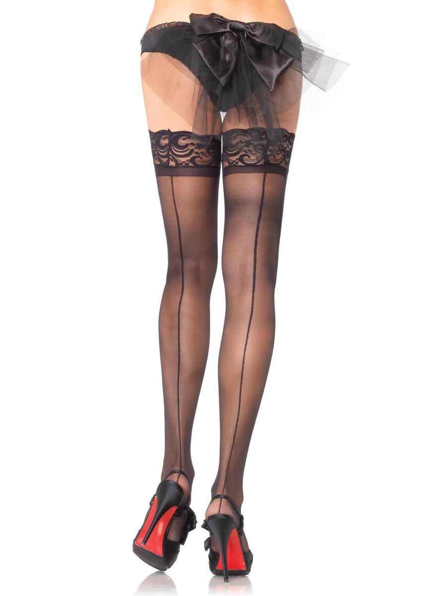Stay up sheer lace top backseam thigh highs in BLACK