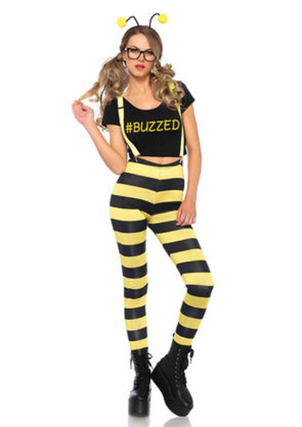 5PC.Buzzed Bee,t-shirt,leggings,suspenders w/wings, faux frames,antennae SMALL BLACK/YELLOW