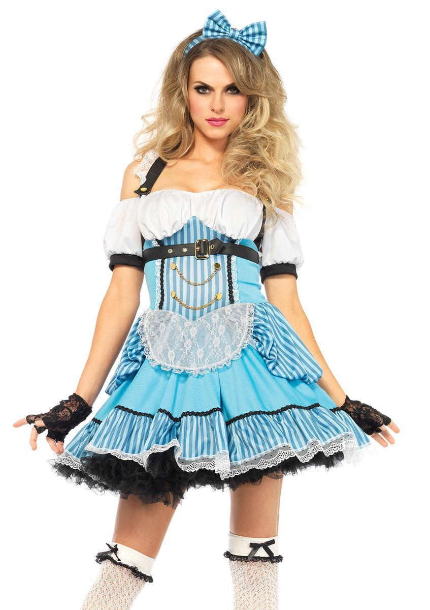 3PC.Rebel Alice,striped dress,back bow,bow headband in BLUE/WHITE