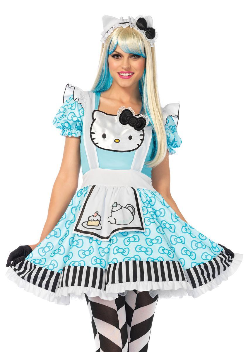 3PC.Hello Kitty Alice,lolita dress,ear headband w/bow, pin-on bow in MULTICOLOR