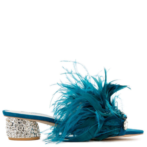 Zazu Feather/Rhinestone Heels