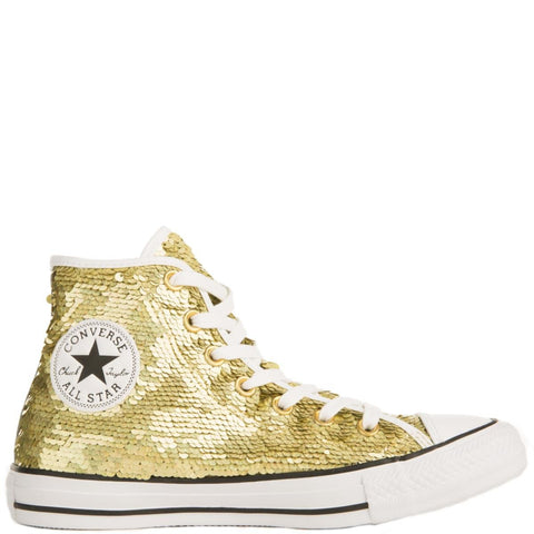 Converse for Women: Chuck Taylor All Star Hi Gold Sequins Sneakers