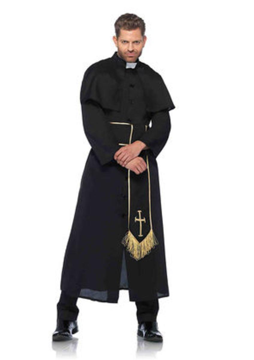 2PC.Priest,robe with attached cape and cross belt in BLACK