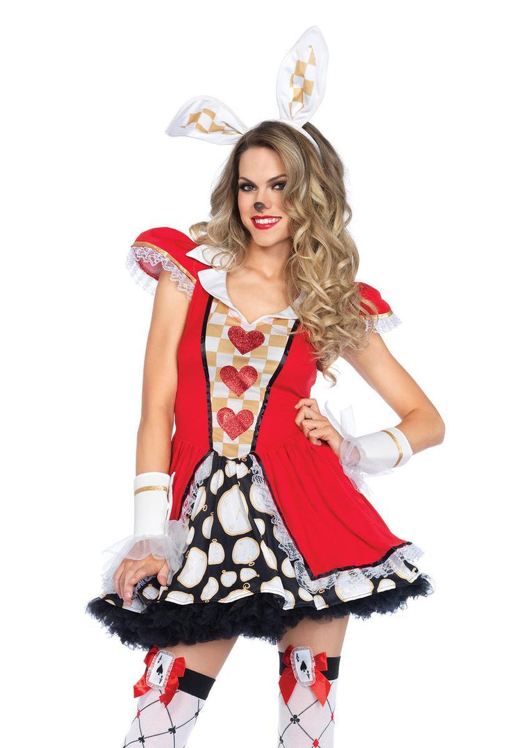 3PC.Tick Tock White Rabbit,dress w/tail,ruffle arm cuffs,ear headban in MULTICOLOR