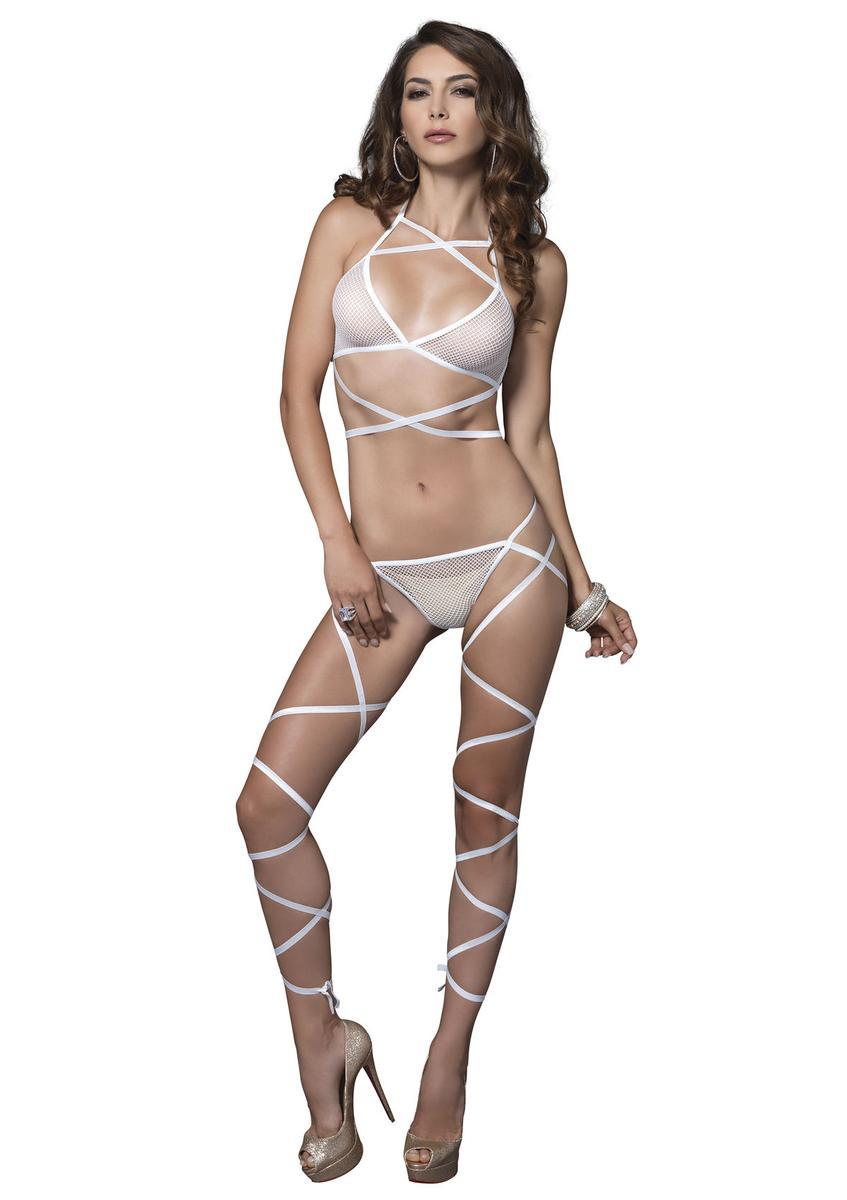 2 PC. Wrap around fishnet halter top & leg wrap g-string in WHITE