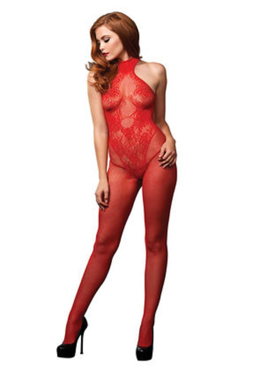 Fishnet seamless halter bodystocking w/floral lace hourglass in RED