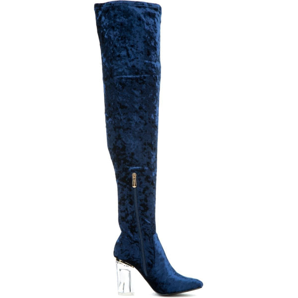 Cape Robbin Fay-15 Women's Blue High Heel Boot