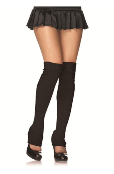Extra long ribbed knit leg warmers in BLACK