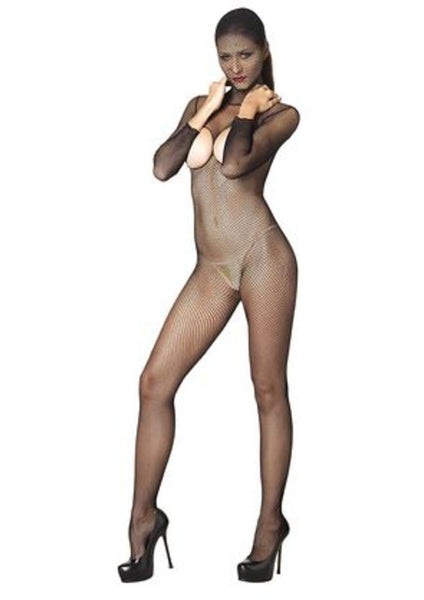 Hooded fishnet bodystocking ,crotchless open back and back snap in BLACK