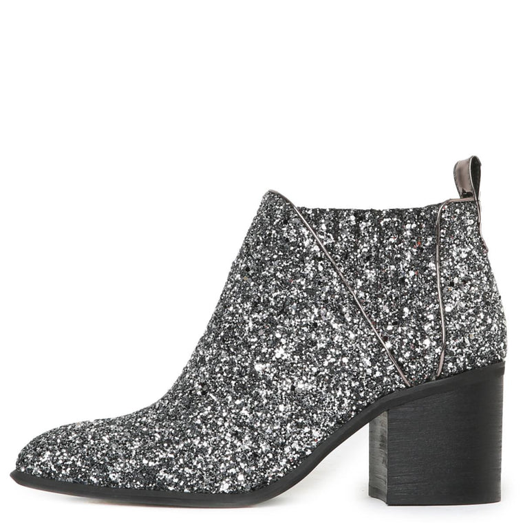 Viggo Glitter Pewter Heeled Booties
