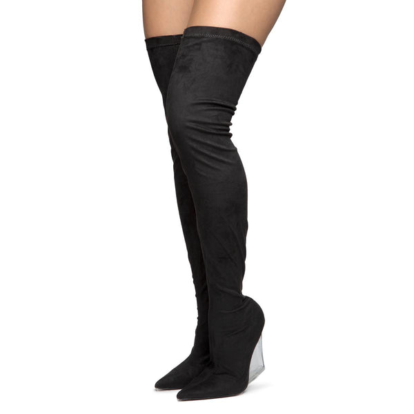 Emilie-4 Wedge Thigh High Boots