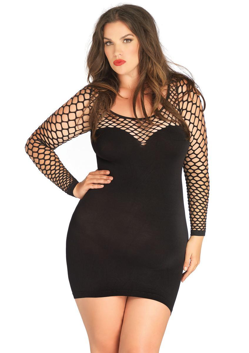 Seamless mini dress with diamond net bodice and sleeves PLUS SI BLACK