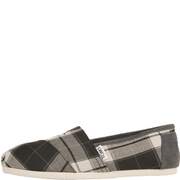 Toms for Women: Classic Black and White Plaid Woven Flats