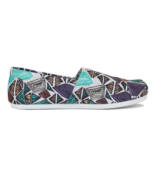 Toms for Women: Classic White Multi Canvas Printed Abstract