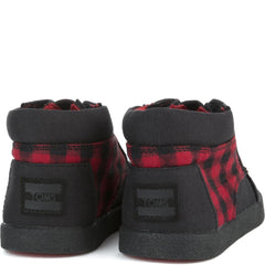Tiny Toms: Paseo High Red/Black Plaid Sneakers