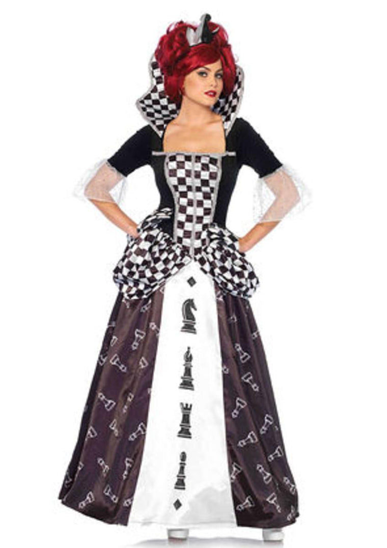 2PC.Wonderland Chess Queen,long chess and crown in BLACK/WHITE