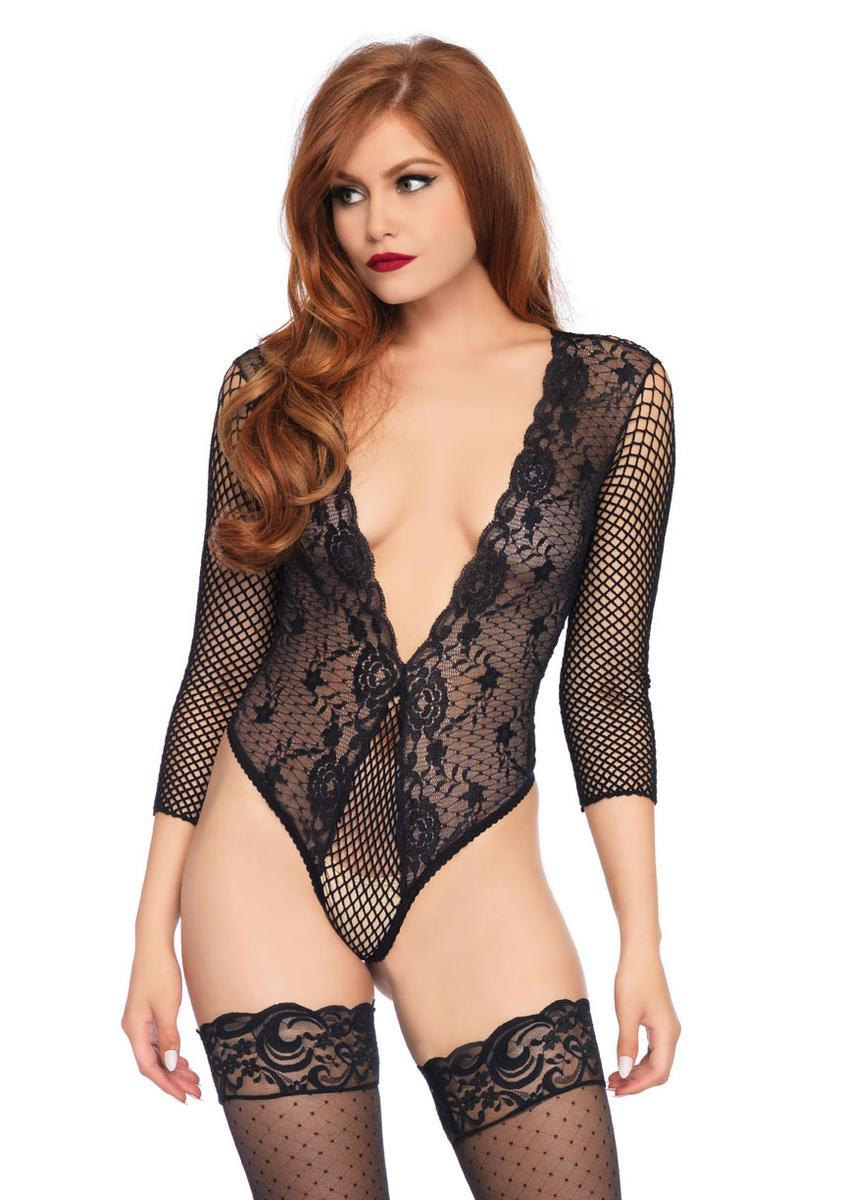 Women's High Cut Deep V Lace and Net