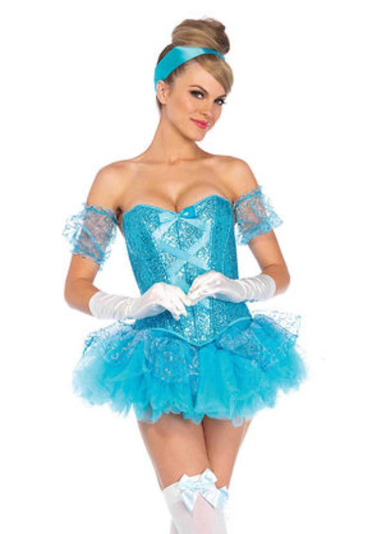 5PC.Cinderella,sequin corset, tutu skirt,arm puffs,choker,headband in AQUA