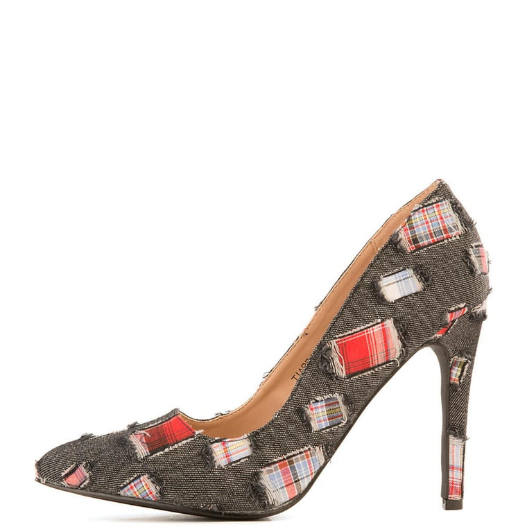 Women's Tiarra-1 Denim High Heel Pump Black Pump Shoes