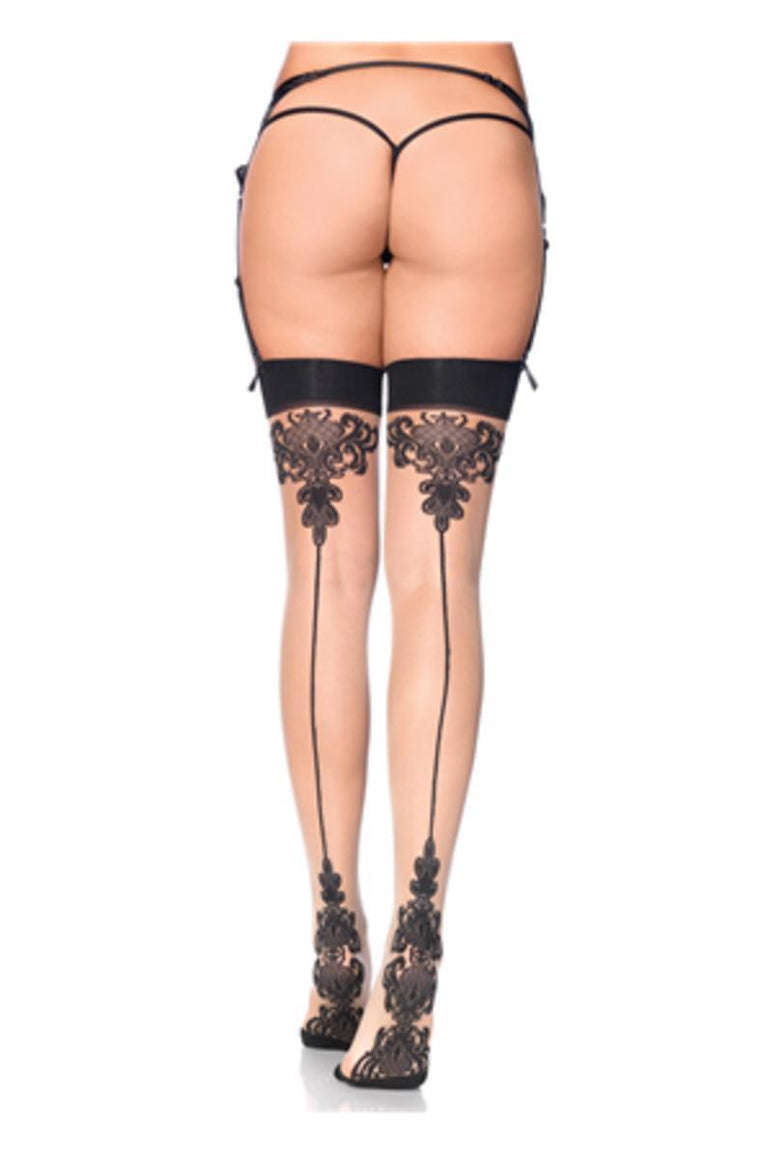 Spandex sheer baroque cuban heel backseam stockings in NUDE/BLACK