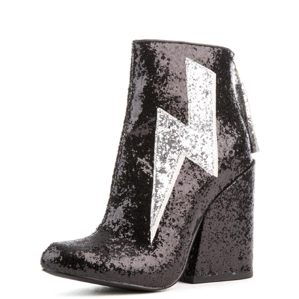 Women's Ziggy Black Glitter Heeled Booties