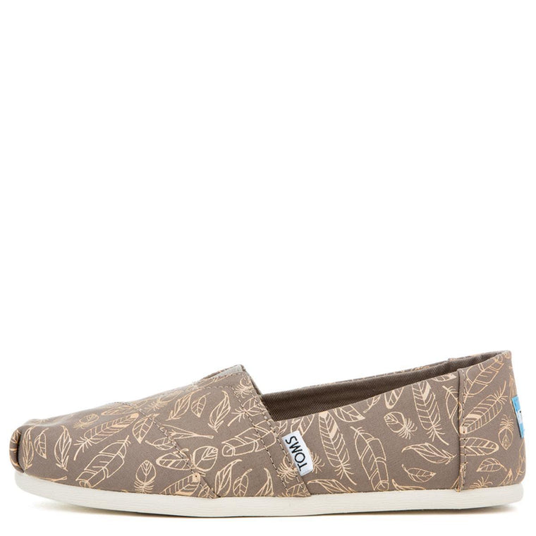 Toms Women's Classic Desert Taupe Foil Feather Flat