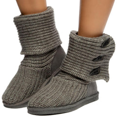 Knit Tall Booties in Gray
