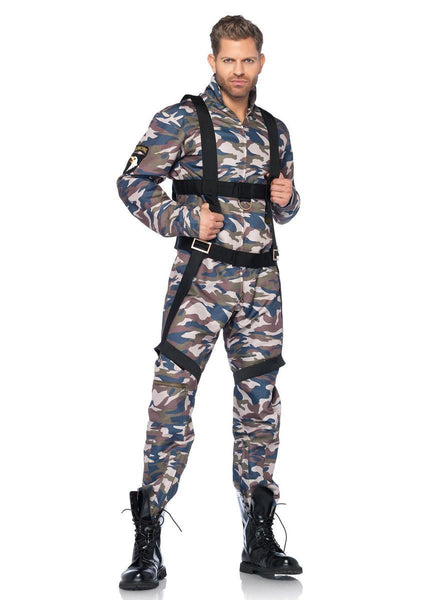 2PC.Paratrooper,zipper front camo flight suit,body harness in CAMO