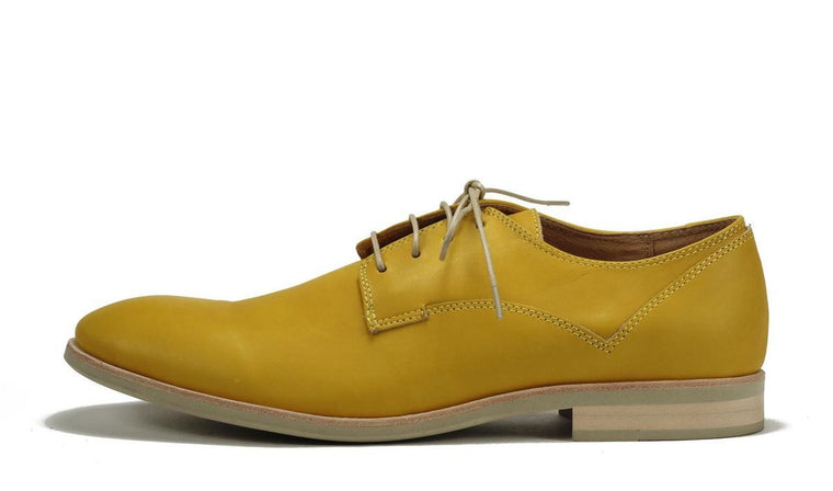 JD Fisk for Men: Oakey Yellow Leather Dress Oxford Oxford