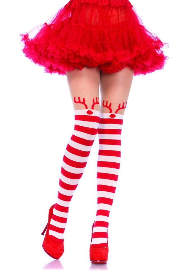 Rudolph reindeer opaque striped pantyhose w/sheer thigh high in RED/WHITE