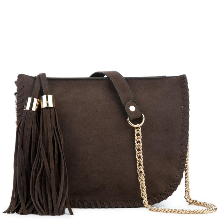 Chocolate Fringe Suede Shoulder Purse