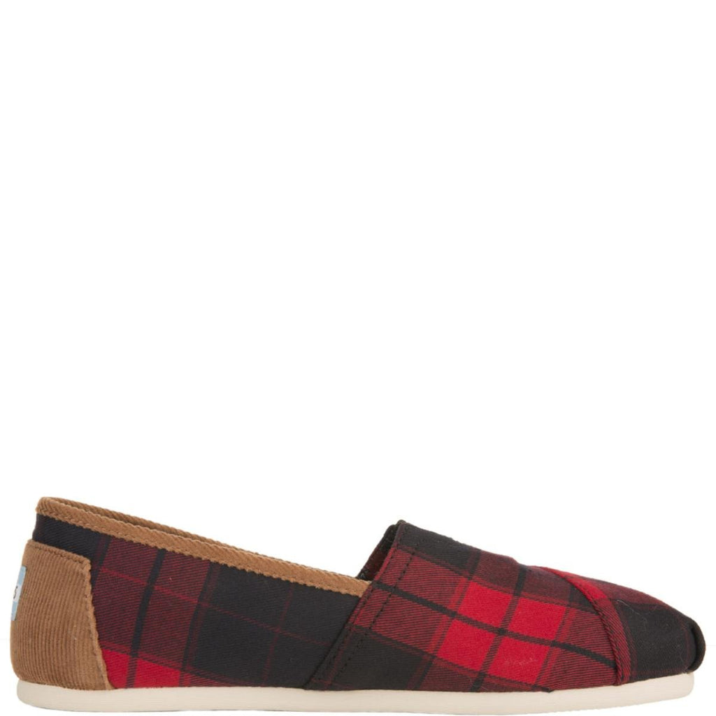 b22650d20f9 Toms for Woman  Classic Red and Black Plaid Woven Flats