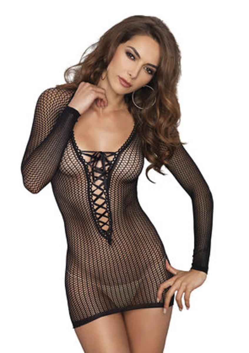 Long sleeved warning net lace up mini dress in BLACK
