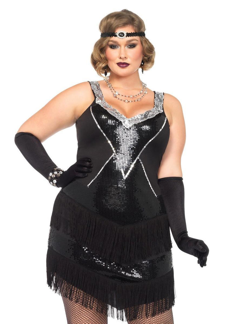 2PC.Glamour Flapper,sequin and fringe dress,headband 1X-2X BLACK/SILVER