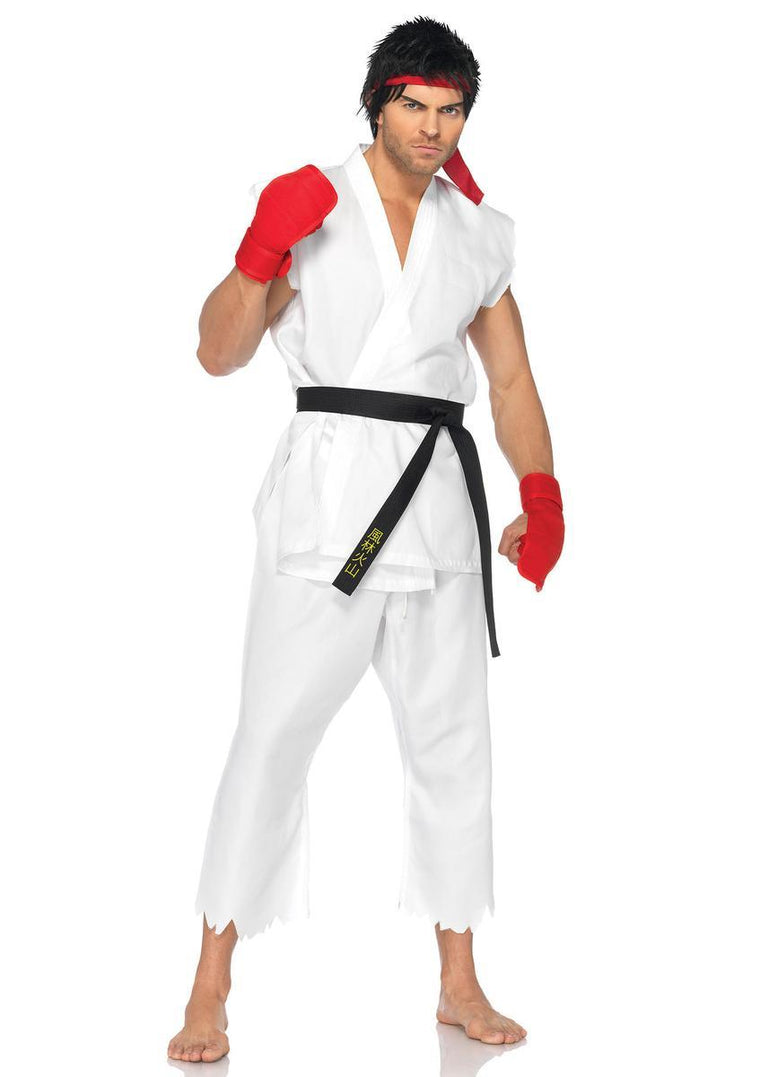 5PC.Ryu,includes shirt, pants, belt, gloves, and head band in WHITE