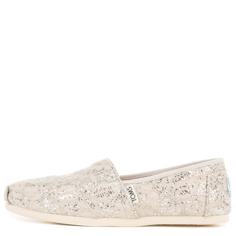 Toms for Women: Classics Silver Lace Glitter Flats